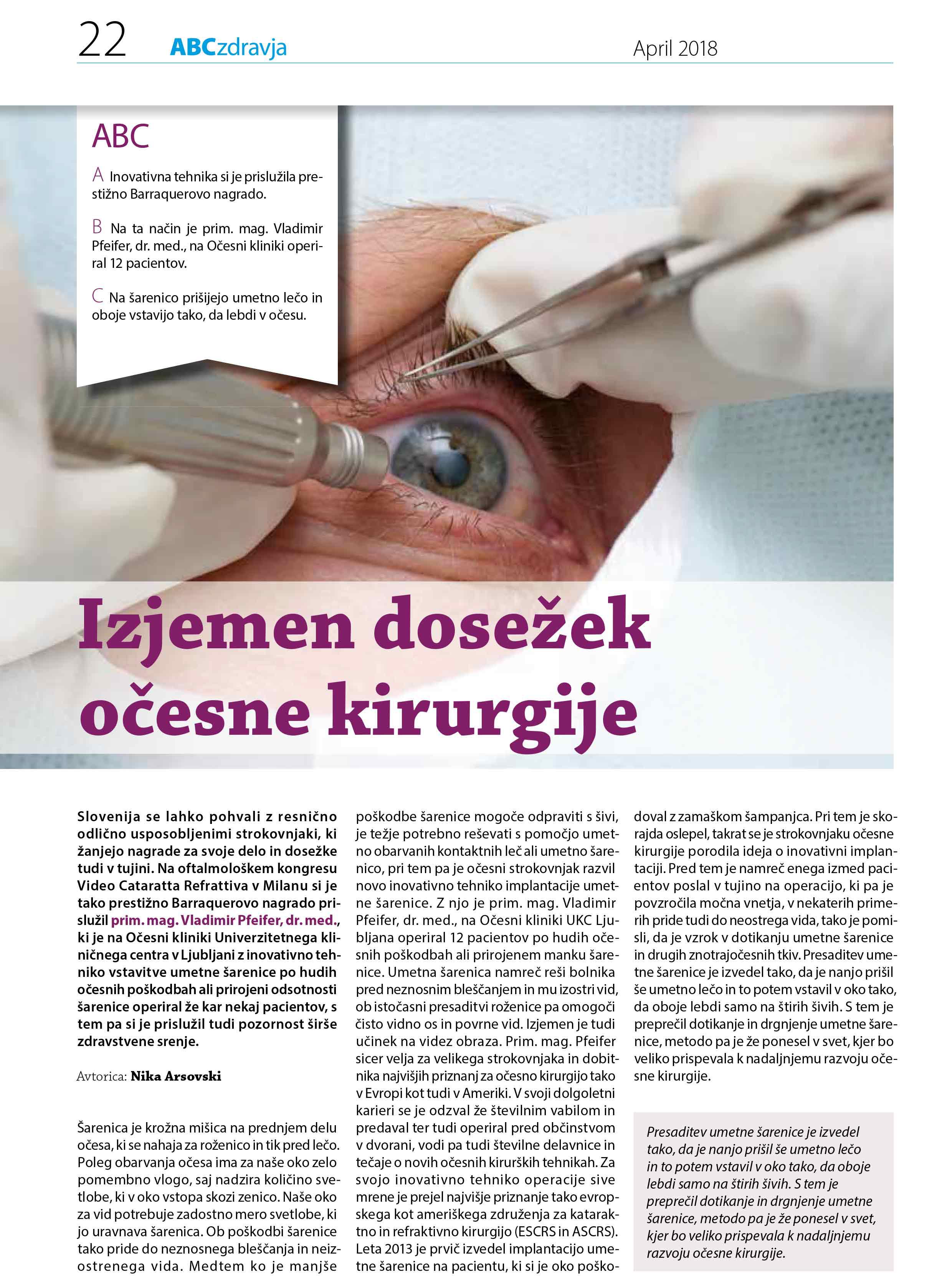 ABC zdravja - Izjemen dosežek očesne kirurgije
