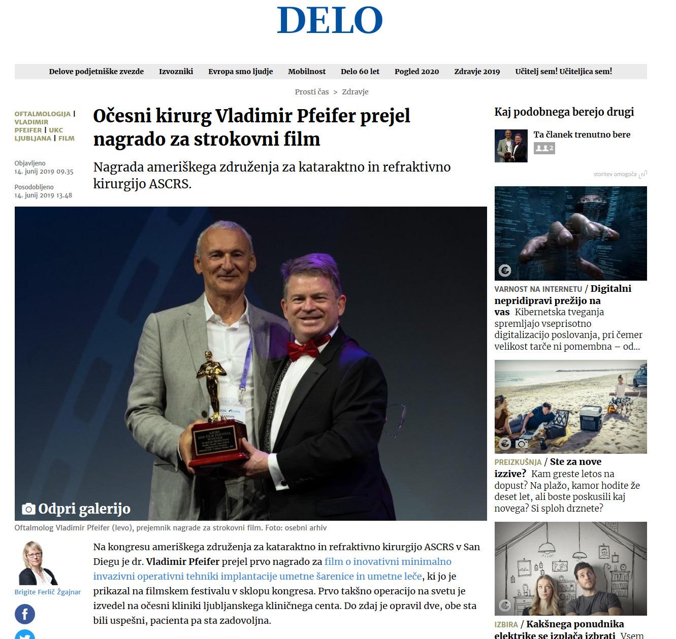 Delo - Očesni kirurg Vladimir Pfeifer prejel nagrado za strokovni film - junij 2019