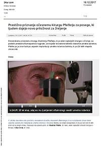 24ur.com, Prestižno priznanje očesnemu kirurgu Pfeiferju za posege, ki ljudem dajejo novo priložnost za življenje, december 2017