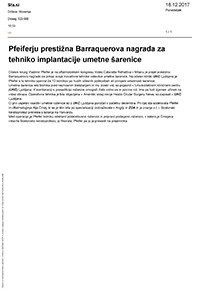 Sta.si, Pfeiferju prestižna Barraquerova nagrada za tehniko implantacije umetne šarenice, december 2017