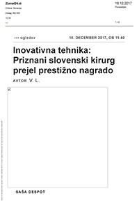 Žurnal24.si, Inovativna tehnika: Priznani slovenski kirurg prejel prestižno nagrado, december 2017