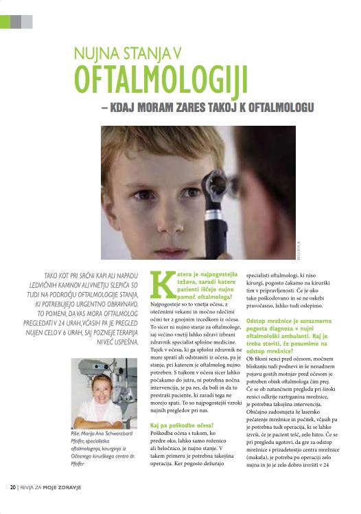 Revija Moje Zdravje, Nujna stanja v oftalmologiji