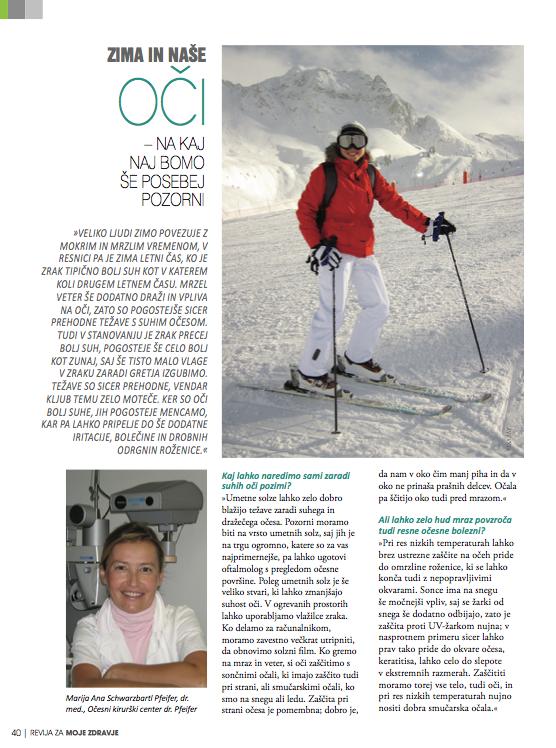 Revija Moje Zdravje, Zima in naše oči