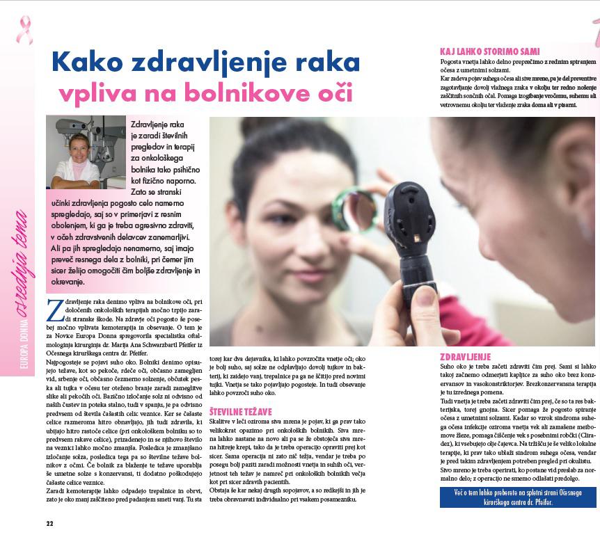 EUROPA DONNA - Kako zdravljenje raka vpliva na oči