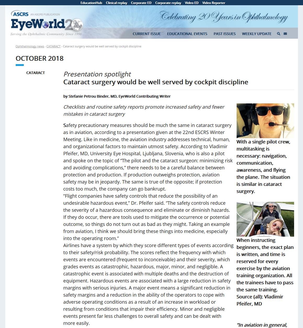 Revija Eye World - Ameriško združenje za kirurgijo katarakte in refraktivno kirurgijo - oktober 2018 ASCRS