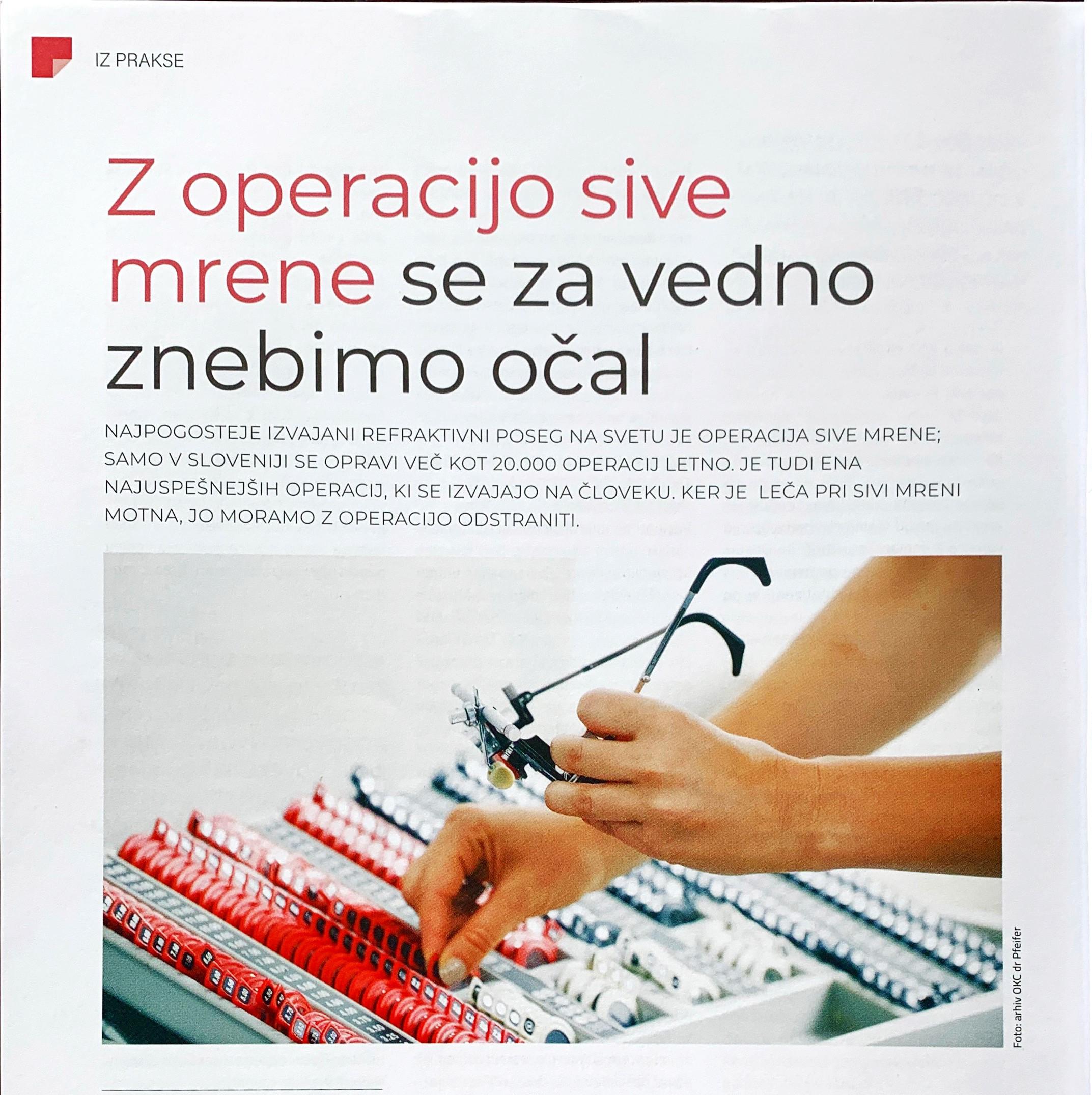 Revija Nova medicina - Z operacijo sive mrene se za vedno znebimo očal - maj 2020