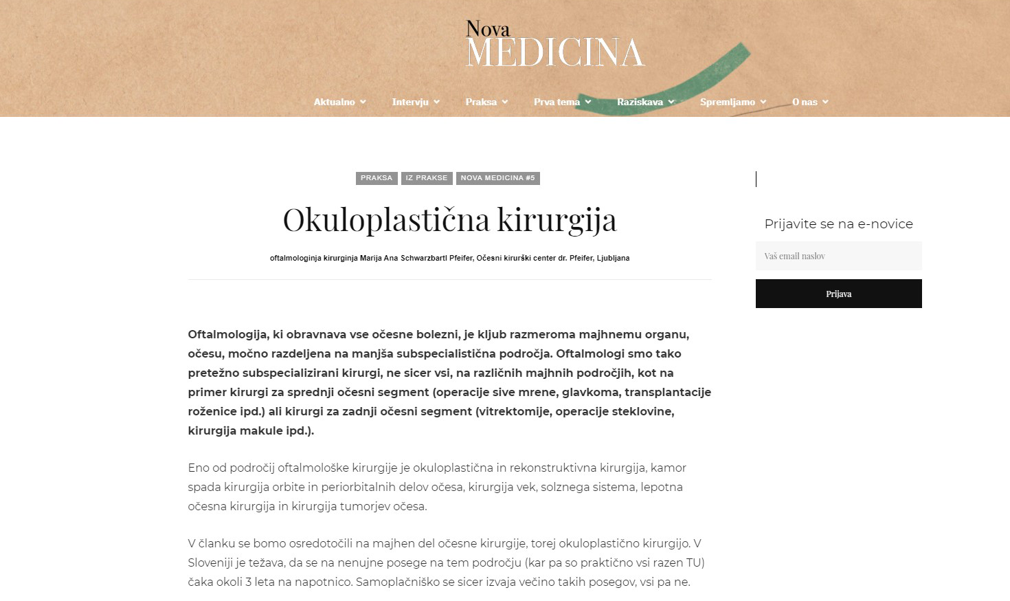 Revija Nova Medicina - Okuloplastična kirurgija - april 2021