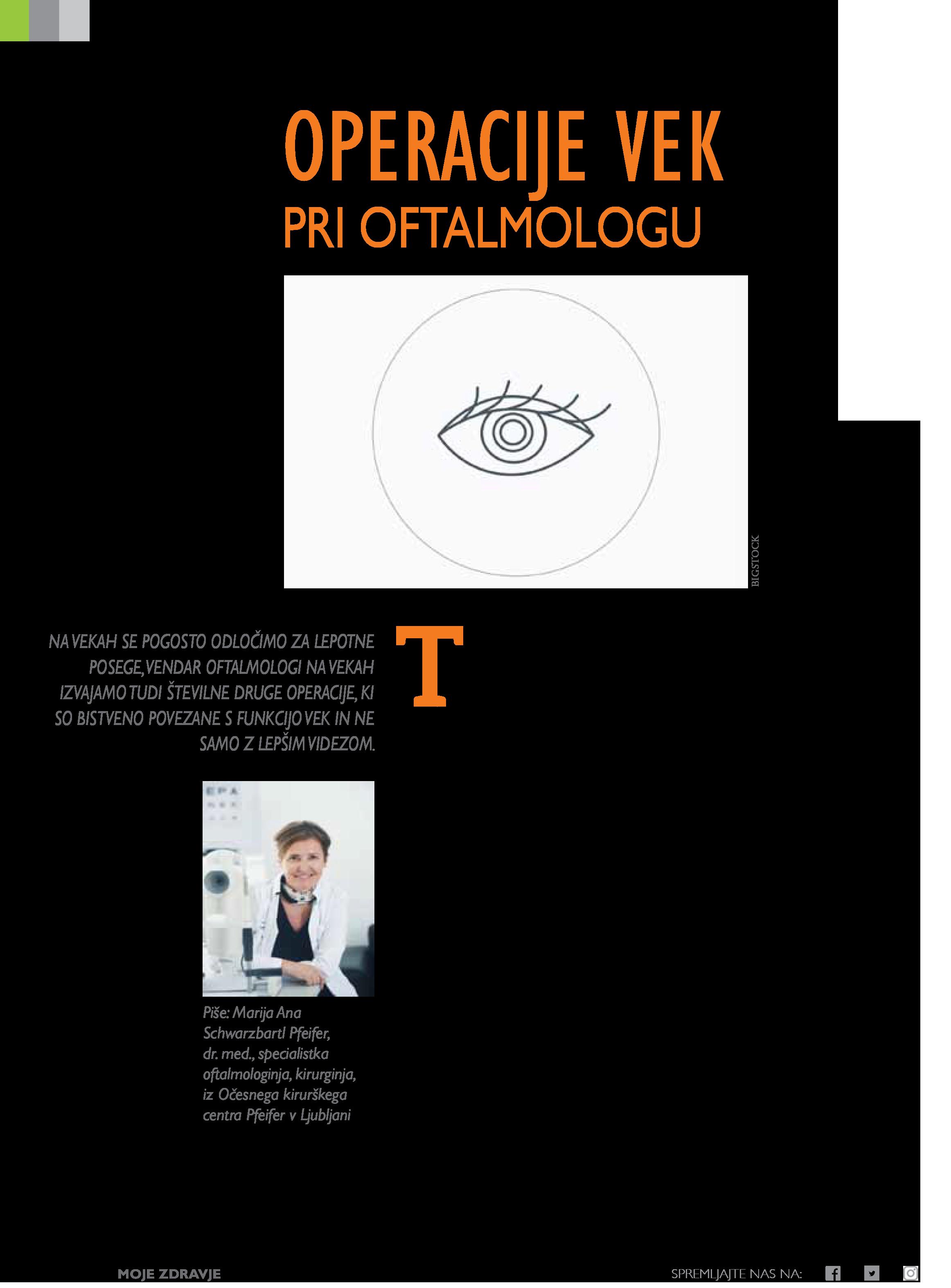 Operacije vek pri oftalmologu - september 2020