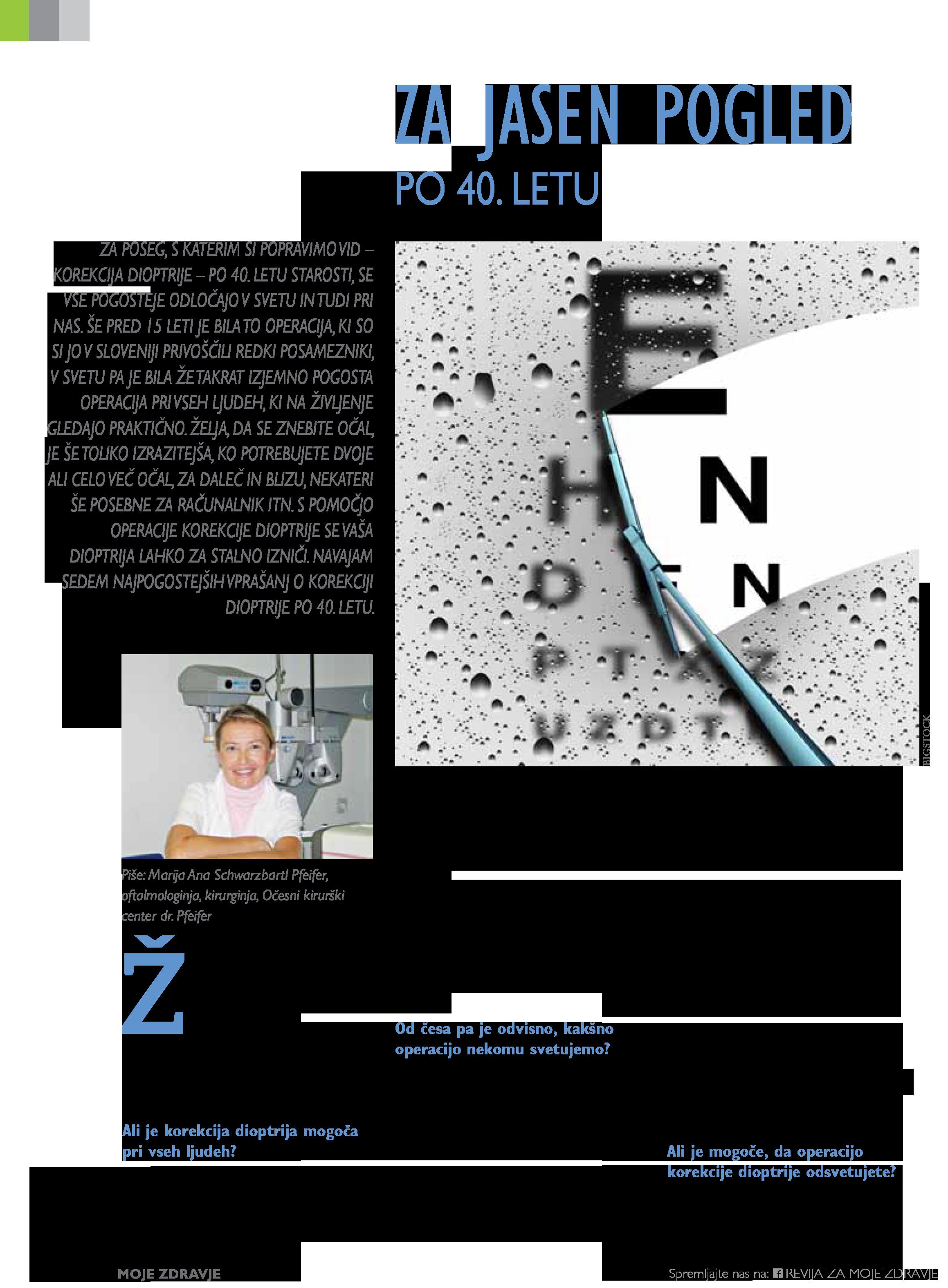 Revija Moje Zdravje - Za jasen pogled po 40.letu - marec 2019