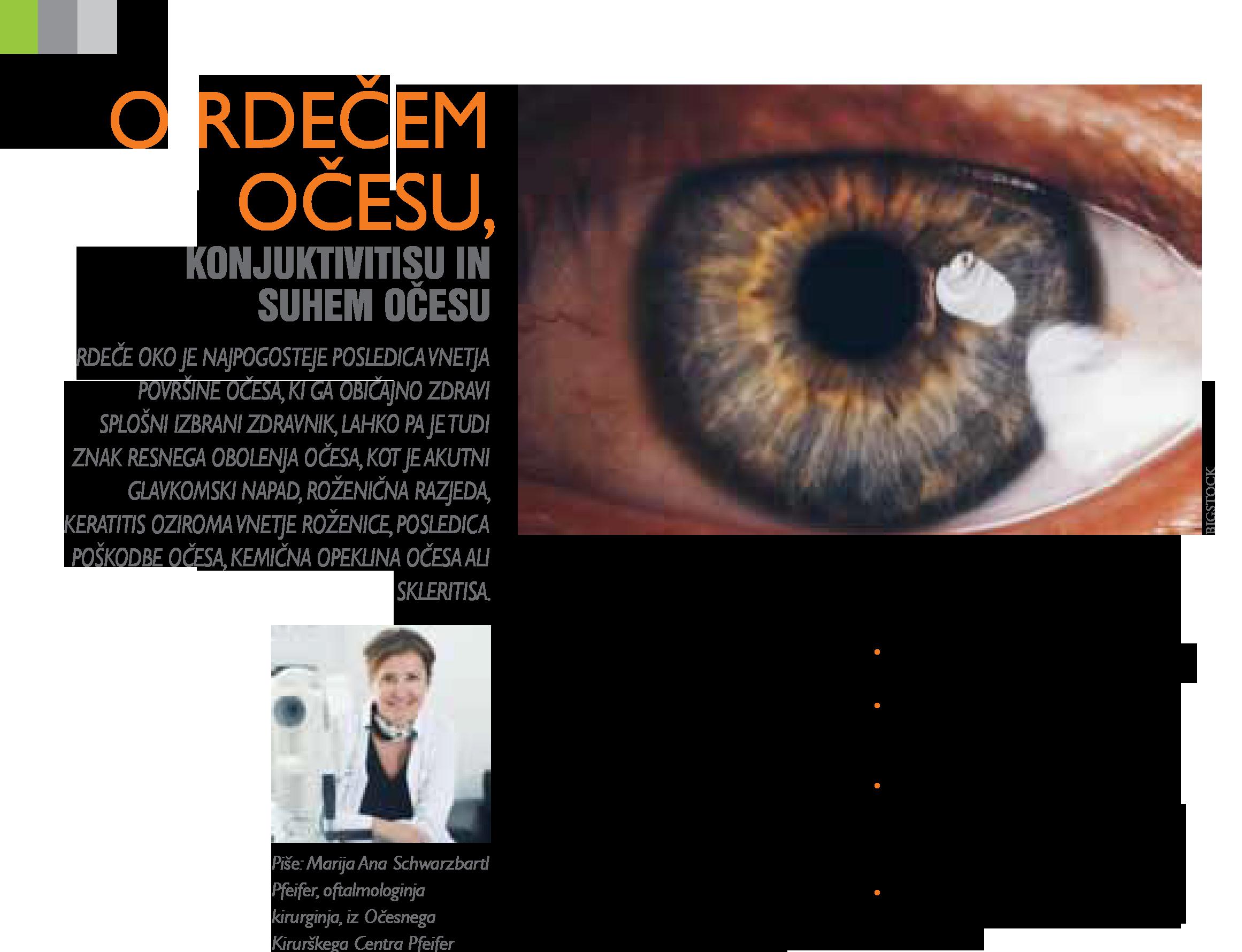 Revija Moje zdravje - O rdečem očesu - oktober 2019