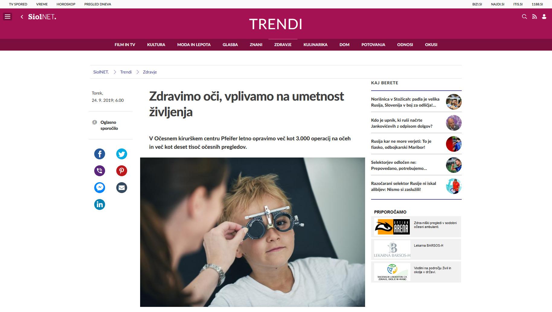 Siol net - Zdravimo oči, vplivamo na umetnost življenja - september 2019