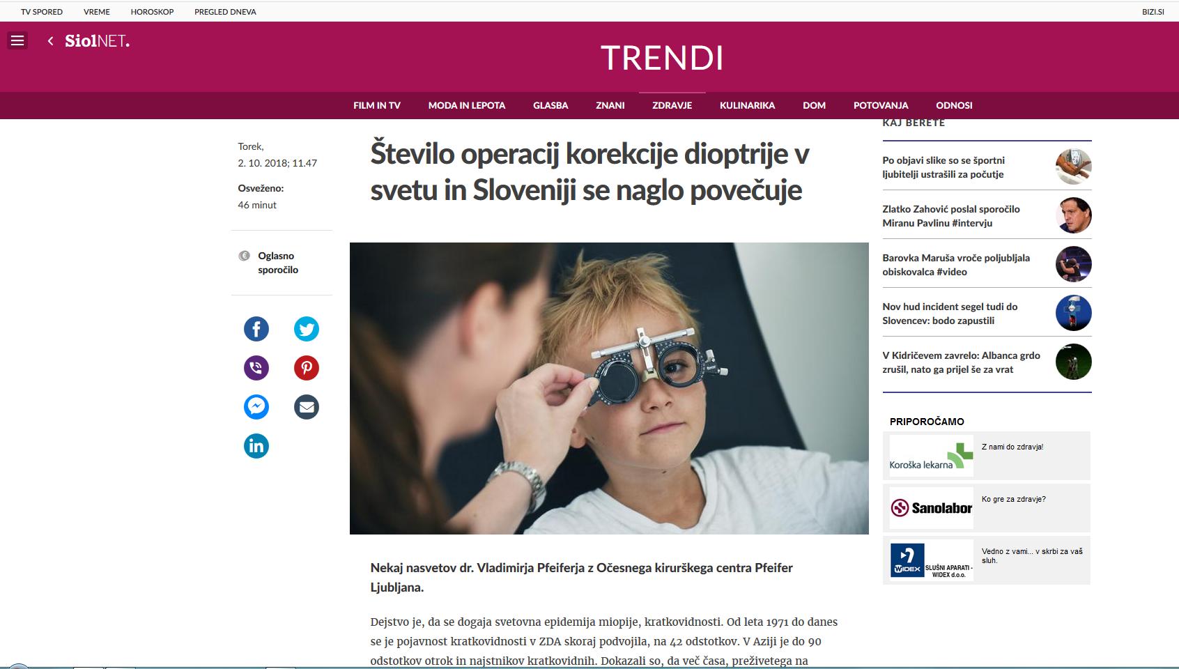 Siol Planet - Število operacij korekcije dioptrije v svetu in Sloveniji se naglo povečuje