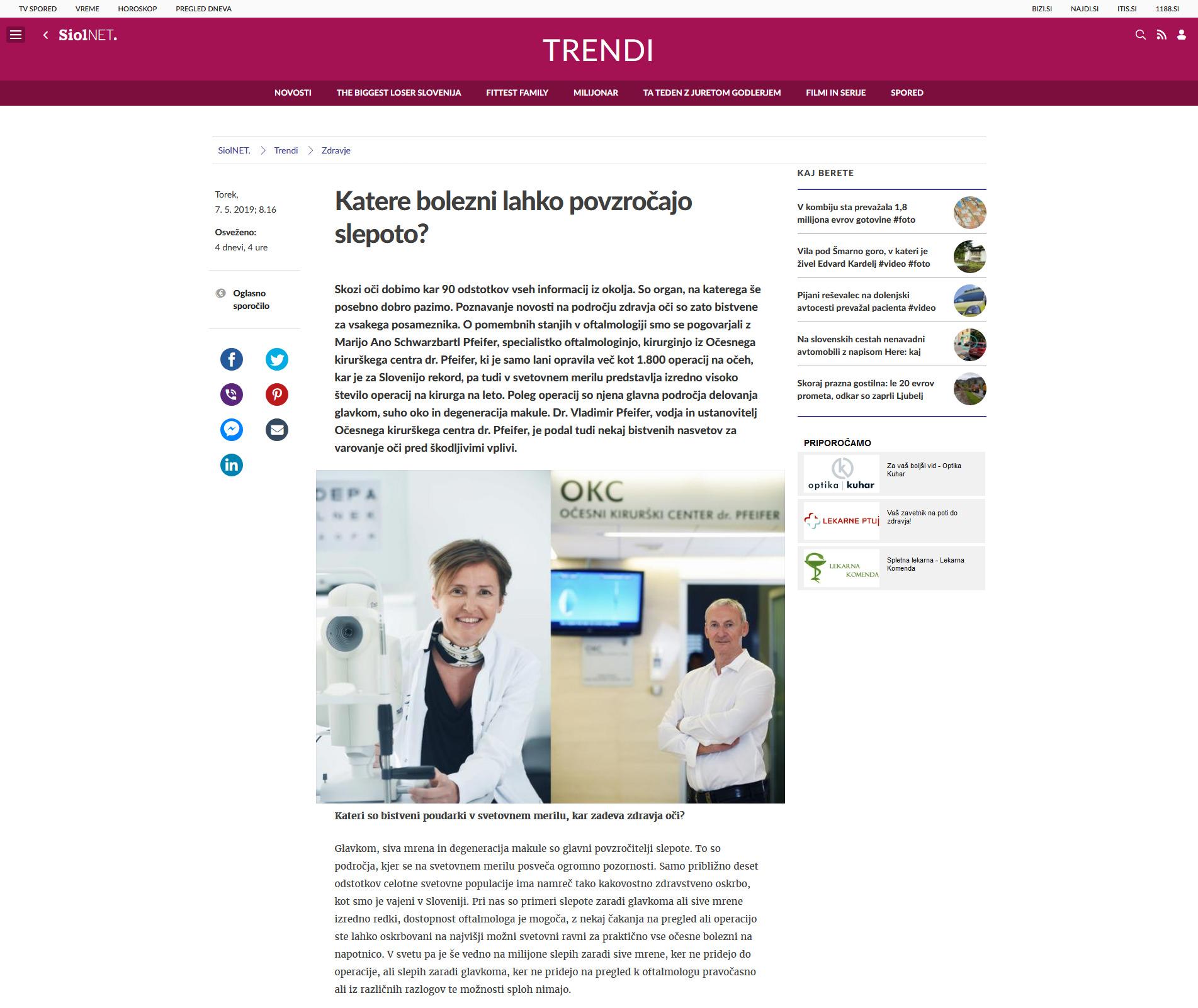 Siol.net - Katere bolezni lahko povzročijo slepoto - maj 2019