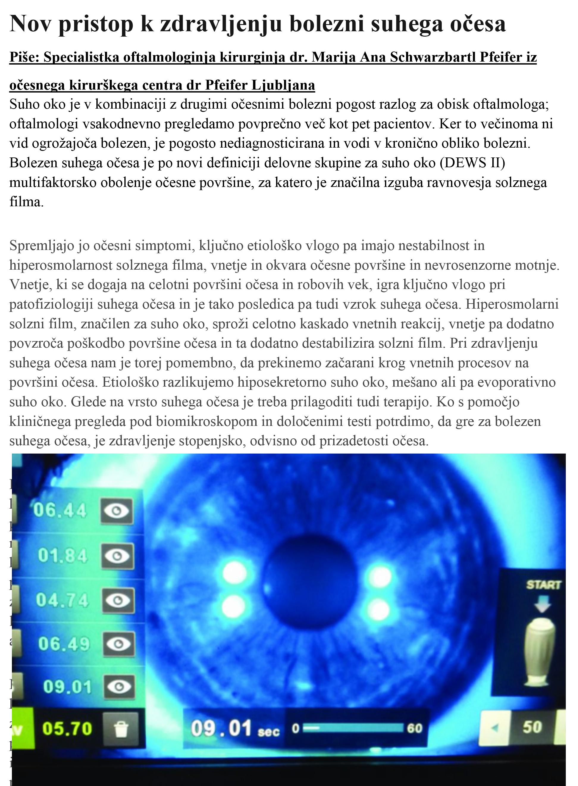 Nova MEDICINA - Nov pristop k zdravljenju bolezni suhega očesa - oktober 2020