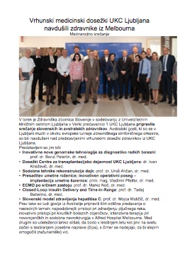 Vrhunski medicinski dosežki UKC Ljubljana navdušili zdravnike iz Melbourna