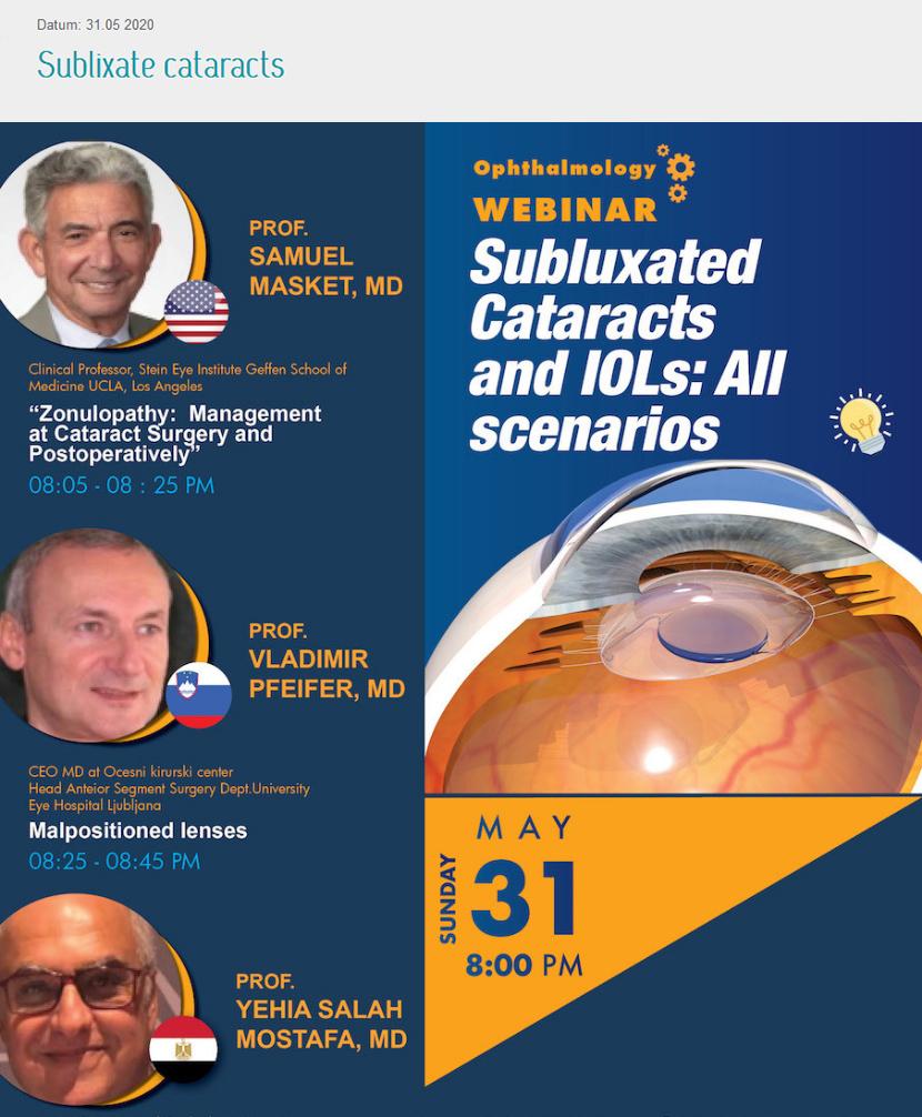 Dr.Pfeifer kot predavatelj na Ameriško Evropsko Afriškem webinarju o kompliciranih primerih očesnih operacij - maj 2020