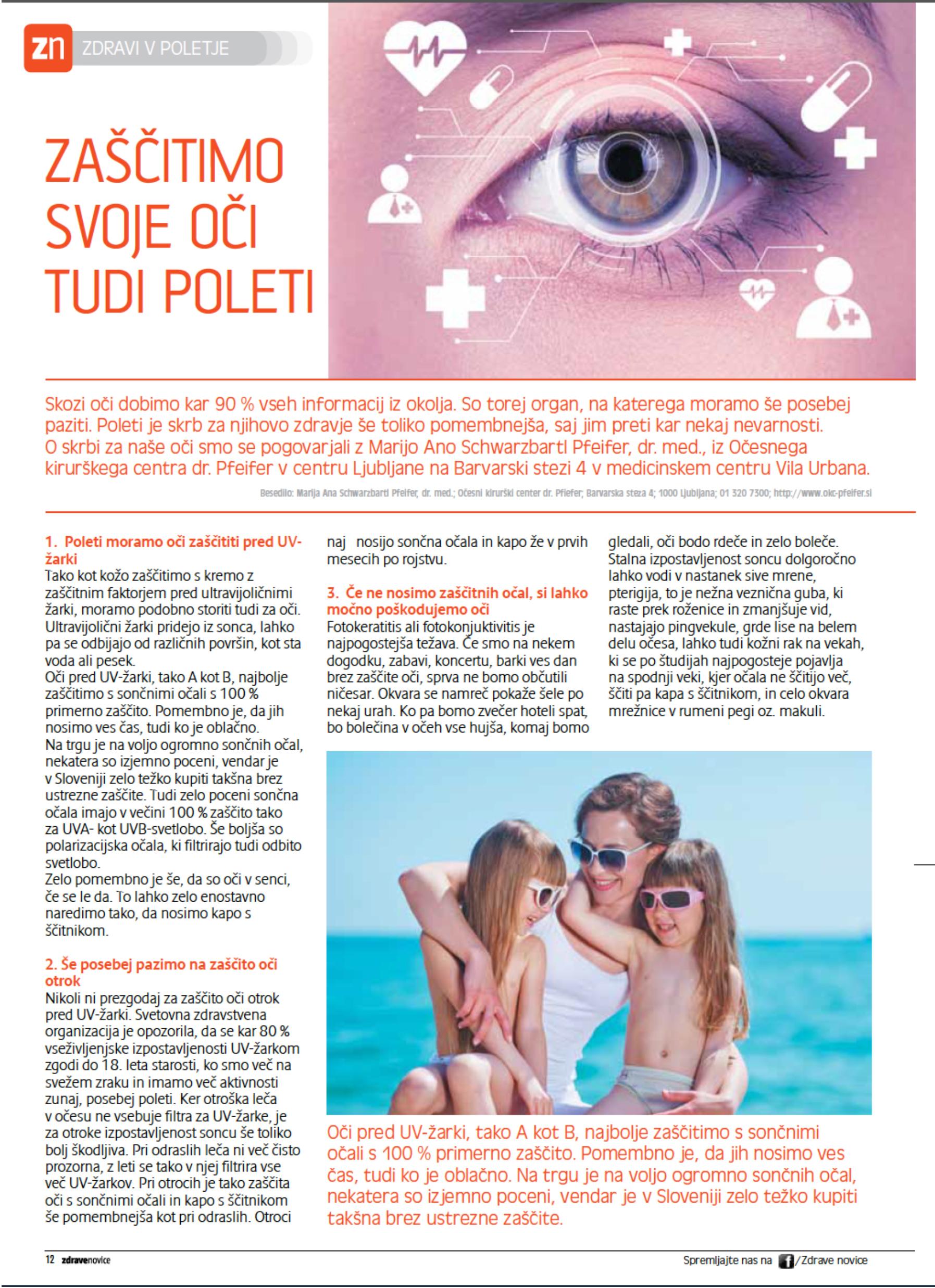 Zdrave novice - Zaščitimo svoje oči tudi poleti